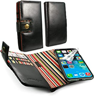 Alston Craig Personalised I3_82 Gentlemen's Traditional Vintage Genuine Leather [with RFID Blocking] Magnetic Shell Folio Wallet Case Cover with Bill Fold for iPhone Xs Max - Black