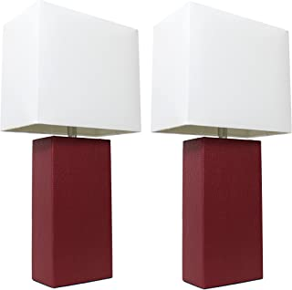 Elegant Designs LC2000-RED-2PK 2 Pack Modern Leather Table Lamps with White Fabric Shades, 3.9