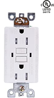 YDL GFCI Outlet 20-Amp (Tamper & Weather Resistant) 125-Volt TR WR Duplex GFCI Receptacle Outlet,LED Indicator,Residential Grade, Self-Grounding, UL Listed, White