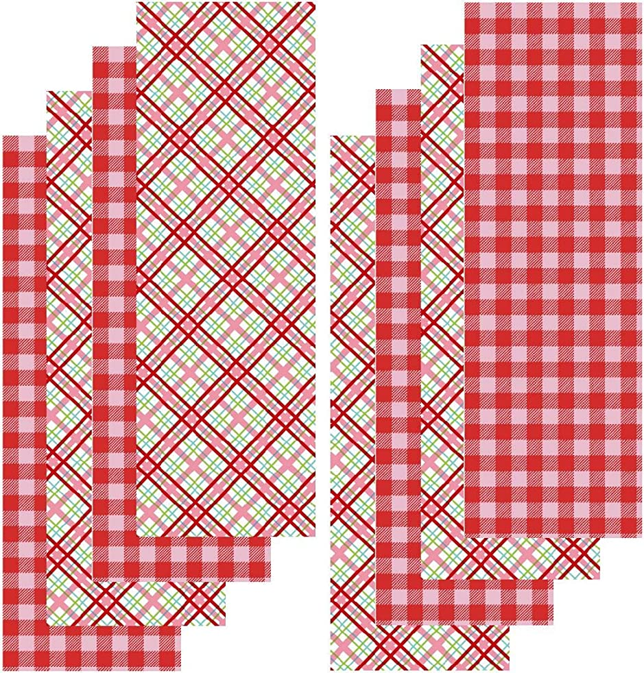 Valentine HTV Vinyl, Buffalo Plaid HTV, Plaid Heat Transfer Vinyl, Red Pink, 8-4