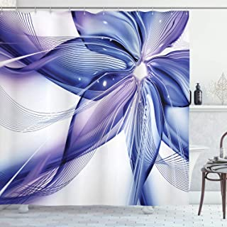 Ambesonne Abstract Shower Curtain, Geometrical Smoke Like Striped Huge Flower Floral Design Work of Art, Cloth Fabric Bathroom Decor Set with Hooks, 70