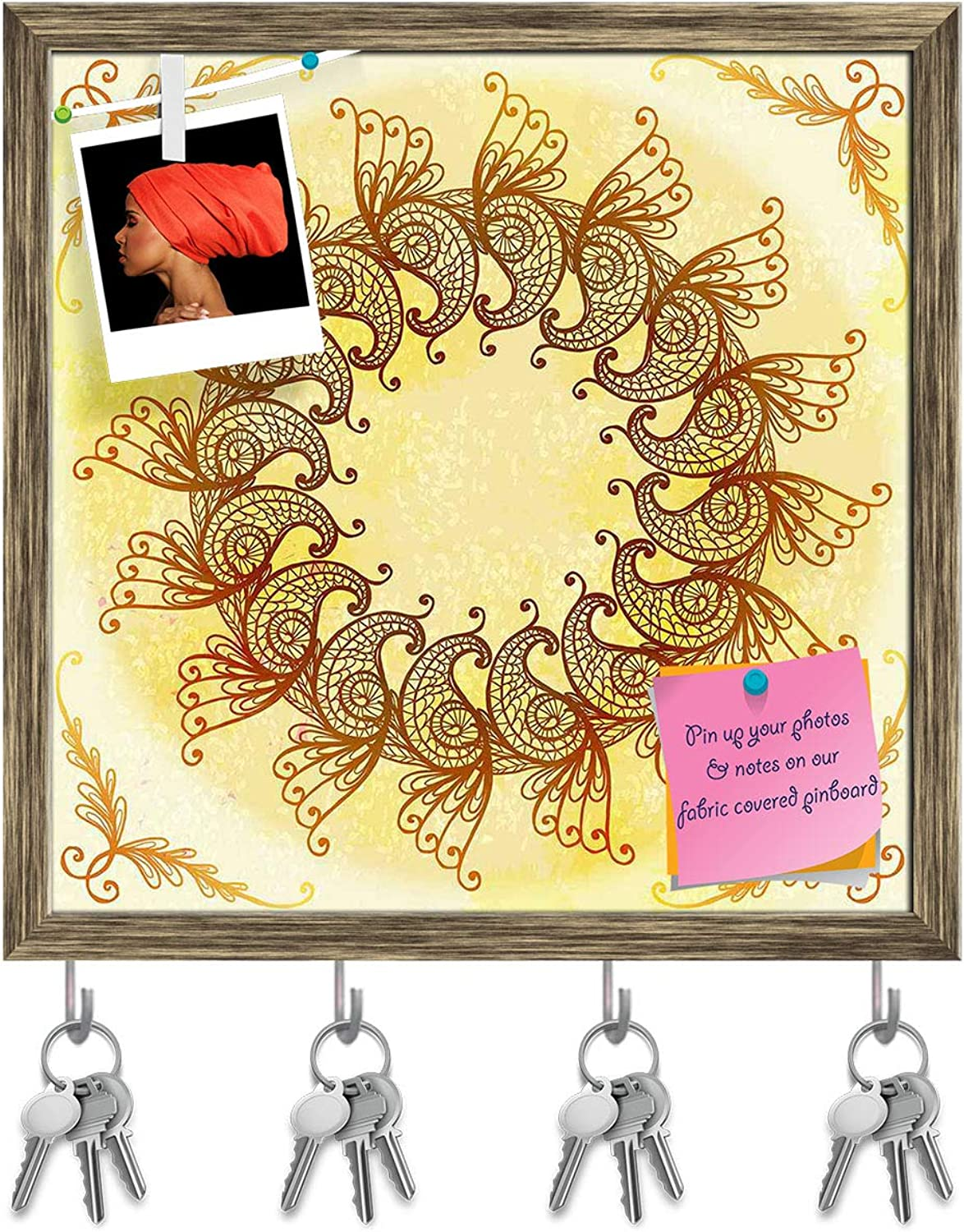 Artzfolio Ethnic Circular Ornament D6 Key Holder Hooks   Notice Pin Board   Antique golden Frame 20 X 20Inch