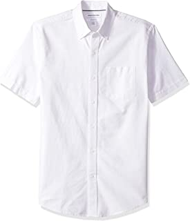 Amazon Essentials Men's Slim-Fit Short-Sleeve Stripe Pocket Oxford Shirt