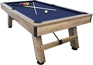 """American Legend Brookdale - 90"""" Billiard Table with Rustic Wood Finish and Navy Blue Cloth"""