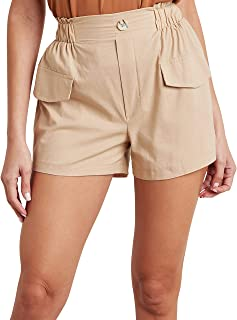 Plain Cargo Shorts with Elasticated Waistband 80332002 For Women Closet by Styli