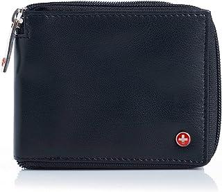 RFID Blocking Mens Leather Wallet Zip Around ID Card Window Bifold