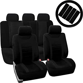 FH Group FH-FB070115+FH2003 Sports Fabric Car Seat Covers, Airbag Compatible and Split Bench w. Leather Steering Wheel Cover, Black- Fit Most Car, Truck, SUV, or Van