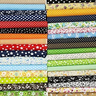 """50 Pcs 10"""" x 10"""" Craft Fabric Bundle Squares Patchwork Fabric Sets Cotton Material Quilting Fabric for DIY"""