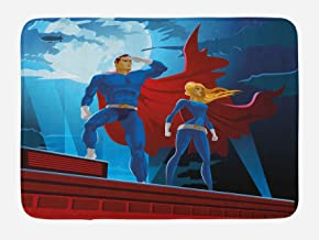 """Lunarable Superhero Bath Mat Heroic Couple on Mission Saving The World Justice Defenders of Print Plush Bathroom Decor Mat with Non Slip Backing 29.5"""" X 17.5"""" Blue Ruby"""