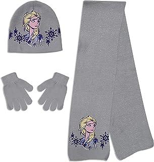 Disney Frozen Elsa Hat Scarf Gloves Set (Light Blue, 6 5/8)