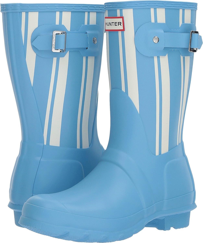 HUNTER Original Garden Stripe Short Rain Boots Forget Me Not/White