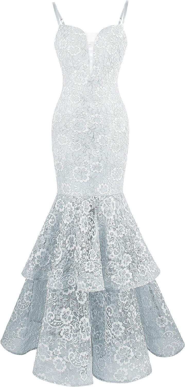 Angelfashions Women's Spaghetti Strap Lace Ruffle Mermaid Wedding Dress