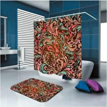 Epinki Polyester Shower Curtain Decorative Bathroom Accessories Colorful Flower Bathroom Curtain with 12 Hooks Size 180x18...