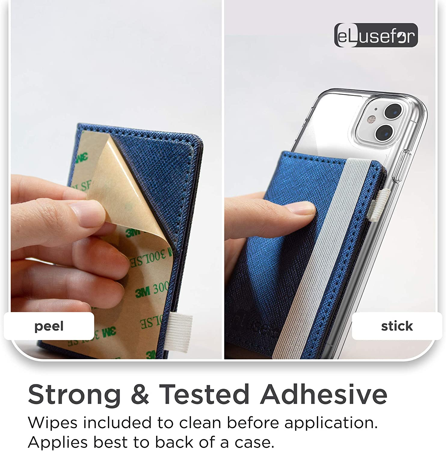 Buy Stick-On Phone Wallet for Back of iPhone or Android Case   6 Sleeve  Credit Card Holder - Pocket for Cards, Money & ID - Built-in Stand -  Waterproof Material - Travel,