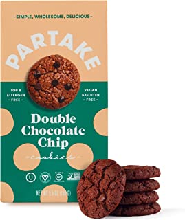 Partake Crunchy Cookies - Double Chocolate Chip | 2 Boxes | Vegan & Gluten Free | Free of Top 8 Allergens | Safe for the School Yard | Tasty, Nutritious & Less Sugar | (Packaging May Vary)