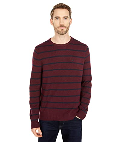 Nautica Sustainably Crafted Stripe Crew Neck Sweater (Royal Burgundy) Men