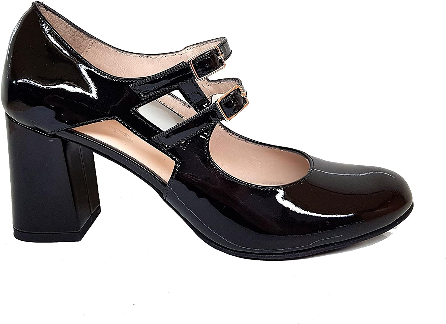 GENNIA VRADA. - Women Closed Rounded Toe Stylish Mary Jane Leather Pumps with Asimetric Block Heel 7 cm with Buckle Closure