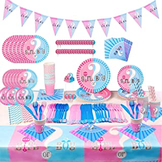 135 Pcs Gender Reveal Boy or Girl Party Supplies Serve 16 Guests Oh Baby Party Tableware Set Guest Baby Gender Reveal Spoo...