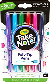 Crayola Felt Pen Take Note! Washable Felt Tip Pen, Assorted Colors, Quick Dry, 6 Count, (58 6532)