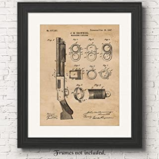 Original Remington Shotgun Rifle Patent Poster Prints, Set of 1 (11x14) Unframed Photo, Wall Art Decor Gifts Under 15 for Home, Office, Shop, Man Cave, Student, Teacher, Cowboys, NRA & Movies Fan