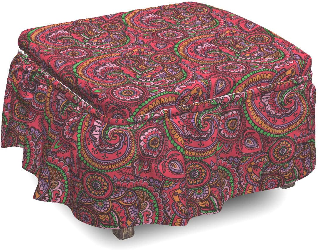 Fresno Mall Japan Maker New Ambesonne Colorful Ottoman Cover Traditional Slipc Art Piece 2
