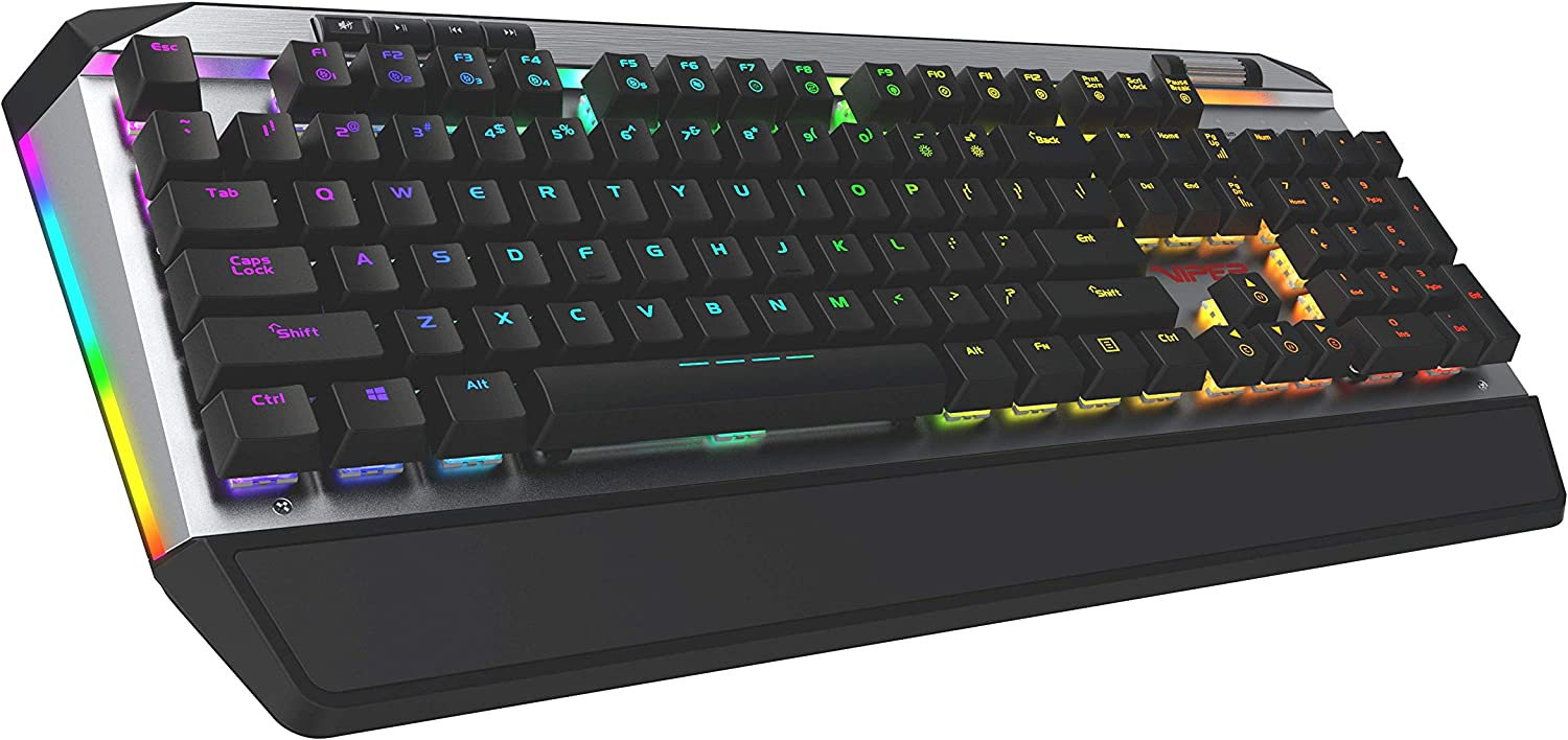 Patriot Viper Gaming V765 Mechanical RGB Illuminated Gaming Keyboard w/Media Controls - Kailh Box Switches, 104-Standard Keys, Removable Magnetic Palm Rest