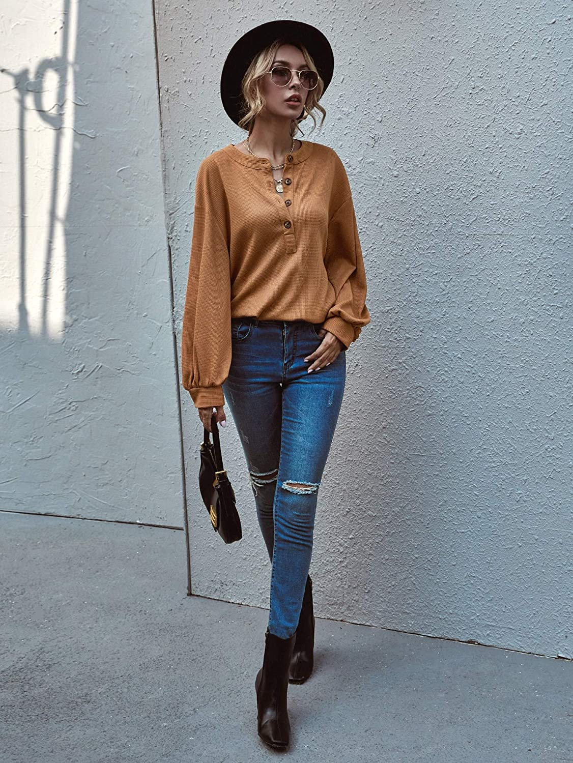 Romwe Women's Waffle Knit T Shirts Long Sleeve Button Front Loose Tee Tops
