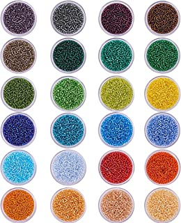 PandaHall Elite 24 Boxes of About 24000 Pcs 12/0 Multicolor Beading Glass Seed Beads 24 Colors Silver Lined Round Pony Bea...