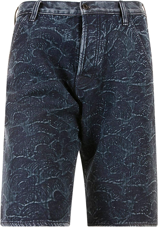 RMC Martin Ksohoh Shorts Dark Blue Embroidered Tsunami Wave Denim Shorts REDM3739