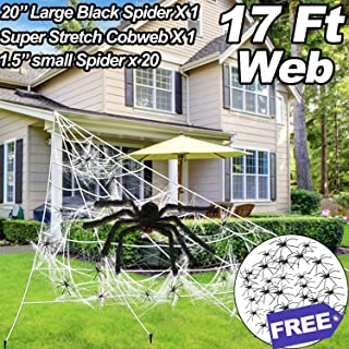 Askyorte Halloween Spider Web,17ft Triangular Super Stretch Cobweb with 20pcs Small Fake Spiders,3 in 1 Spooky Spider Webbing for Halloween Decor Outdoor Indoor Yard Wall Bar Party