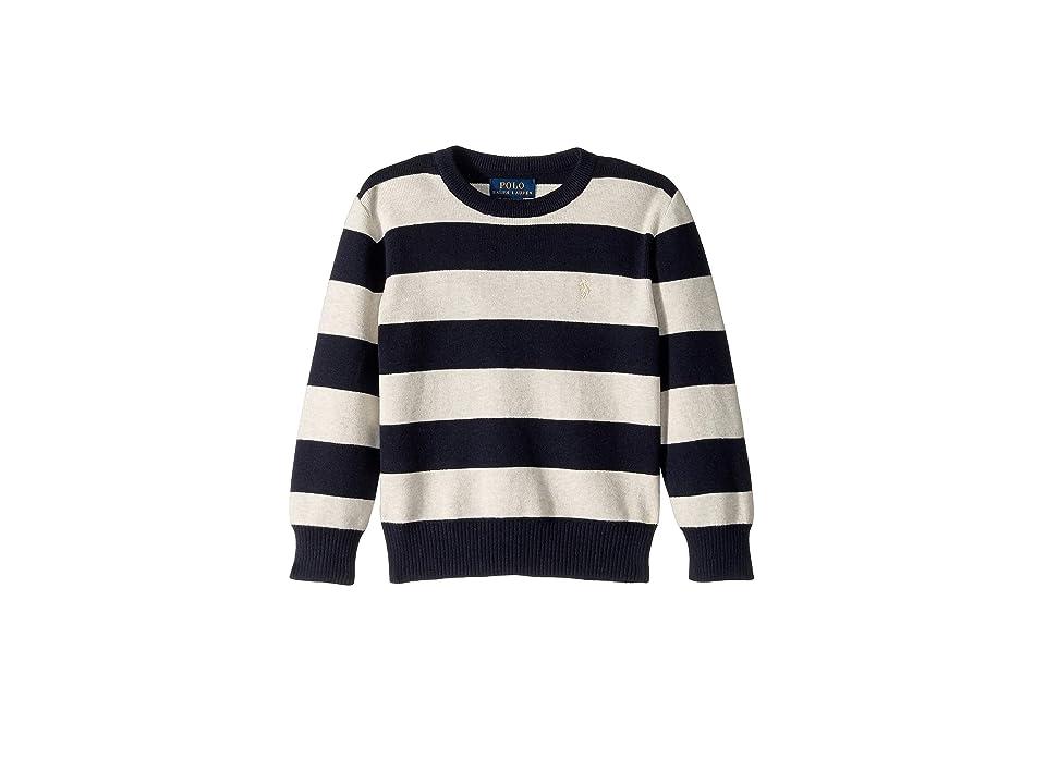 Polo Ralph Lauren Kids Striped Cotton Sweater (Little Kids/Big Kids) (Navy Heather Multi) Boy