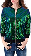 VIJIV Womens 3/4 Sleeves Sequin Bomber Jacket Coat Front Zip Short Blazer Jacket with Ribbed Cuffs