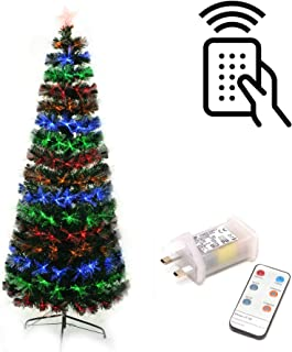 Gifts 4 All Occasions Limited SHATCHI-1224 Shatchi 5ft Fibre Optic Christmas Tree Remote Control Various Effects Xmas Decorations, Green