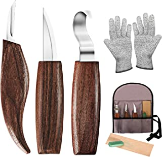 Wood Carving Tools, 7 in 1 Wood Carving Kit with Carving Hook Knife, Wood Whittling Knife, Chip Carving Knife, Gloves, Car...