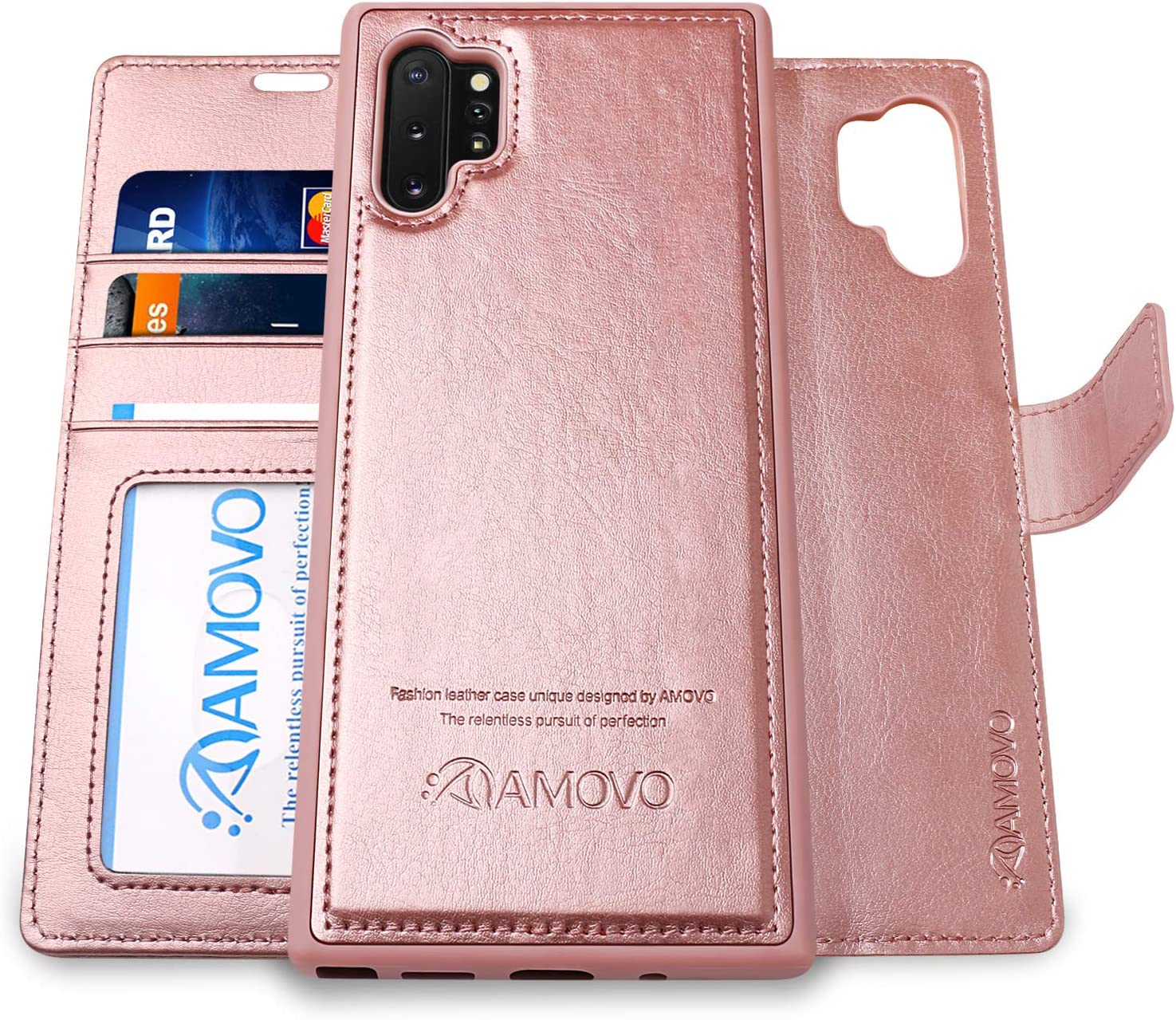 AMOVO Galaxy Note 10+ Wallet Case [2 in 1 Detachable] Vegan Leather Case for Samsung Galaxy Note 10 Plus (6.8'') [Wrist Strap] Note 10Pro Flip Case with Box Package (Note10+ (6.8'') Rosegold)
