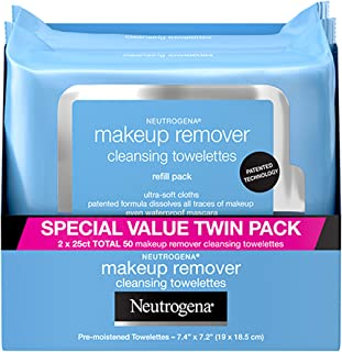 Neutrogena Makeup Remover Cleansing Face Wipes, Daily Cleansing Facial Towelettes to Remove Waterproof Makeup and Mascara,...