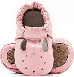Bebila Genuine Leather T-Strap Baby Moccasins with Rubber Soles Summer Boys Girls Shoes for Infants Toddlers Prewalkers