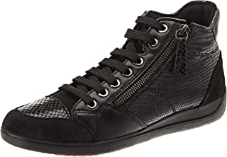 GEOX D Myria C PYT PR LE Womens Leather Trainers/Shoes - Black