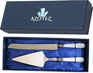AZOTEZ Cake Server and Knife Set - Cake Cutter and Server or Pie Cutter. Wedding Cake Knife and Server Set Suitable for Cutting Cakes at Weddings, Birthdays or Anniversaries