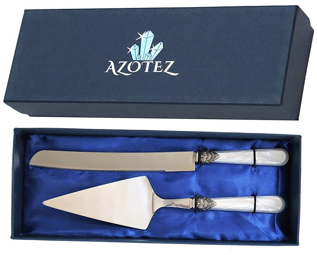AZOTEZ Cake Server and Knife Set - Cake Cutter or Pie Cutter and Server | Wedding Cake Knife and Server Set Suitable for Cutting Cakes for Weddings, Birthday, Anniversary or Christening