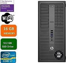 HP EliteDesk 800 G2 Business Desktop Mini Tower, Intel Core i7 6700 3.4Ghz, 16GB DDR4 RAM, 512GB SSD Hard Drive, Windows 10 Pro (Renewed)