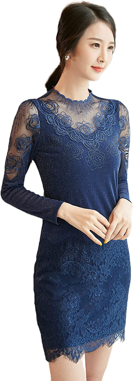 Long Sleeve Lace Bodycon Dress Scalloped Knee Length Cocktail Mini Dress for Women