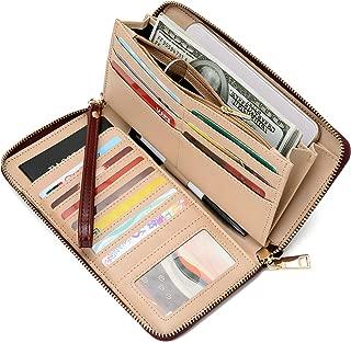 Women's RFID Blocking PU Leather Zip Around Wallet Clutch Large Travel Purse
