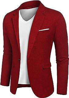 Generic Mens Leisure 2-Buttons Cotton Solid Color Business Suit Blazer Jackets
