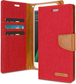 Goospery Canvas Wallet for Oppo R11 Case (2017) Denim Stand Flip Cover with 4 Gifts (Red) OPPOR11-CAN/GF-RED