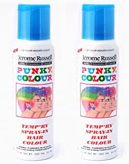 Jerome Russell Punky Color Temp'ry Spray-In Hair Colour SKY BLUE TWO PACK - Clean, Easy Washes Out - 2 x 3.5 oz Temporary Hair Color