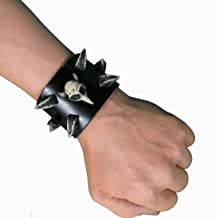 Leather Studded Cuff with Horn Studs - Medium - Goth / Rocker / Punk bracelet with resin horn studs and skull MD
