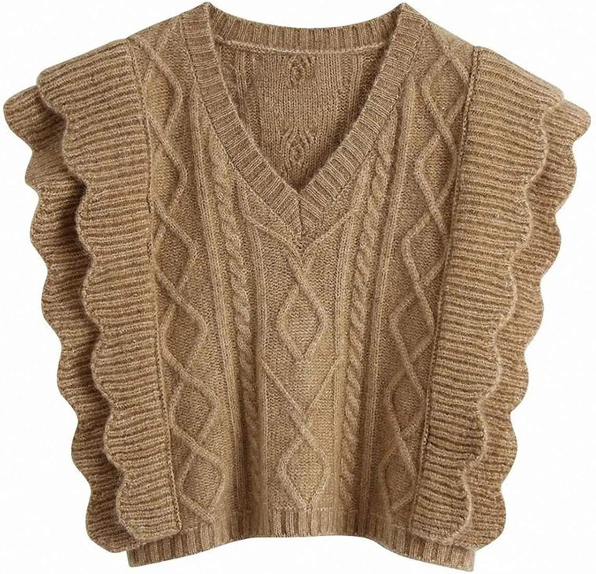 Barsly Fall Winter Women Cable-Knit Vest Sweater V-Neck Waistcoat Ruffle Trim Women Pullover Warm Knitted Tank Tops