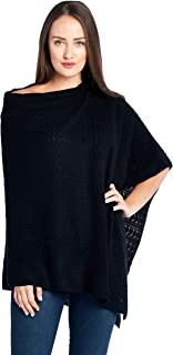 Women's 100% Cashmere Soft Knitted Travel Wrap Poncho Sweater