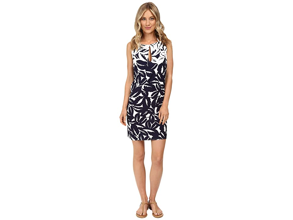 Tommy Bahama Graphic Jungle High Neck Short Dress Cover-Up (Mare Navy/White) Women